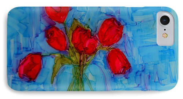 Red Tulips With Blue Background Phone Case by Patricia Awapara