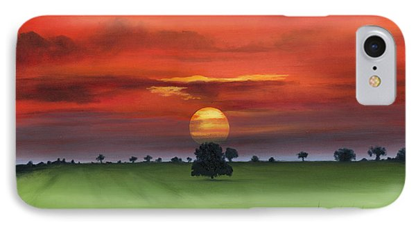 Red Tuscan Sunrise With Poppy Field Phone Case by Cecilia Brendel