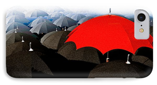 Red Umbrella In The City IPhone Case