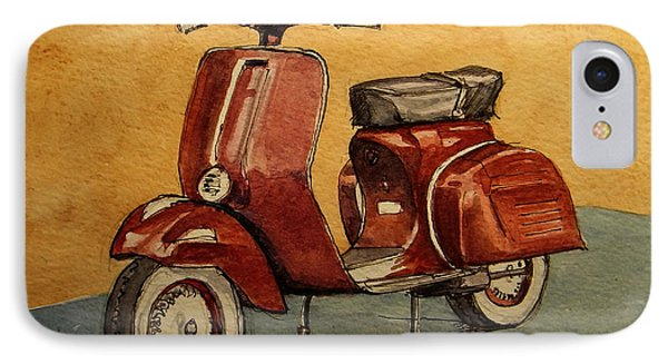 Motorcycle iPhone 7 Case - Red Vespa by Juan  Bosco