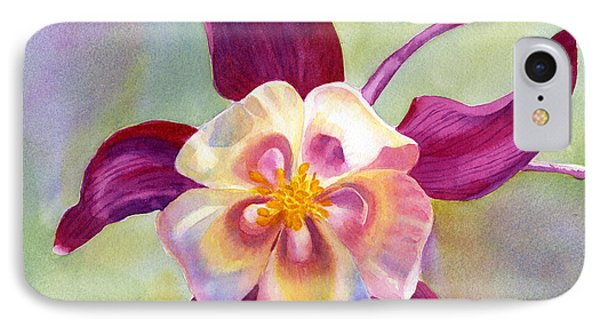 Red Violet Columbine With Background IPhone Case