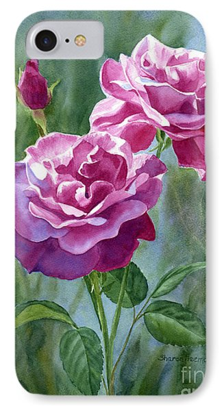 Red Violet Roses With Background IPhone Case