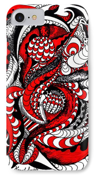 Red Wave Of Thoughts Phone Case by Kenal Louis
