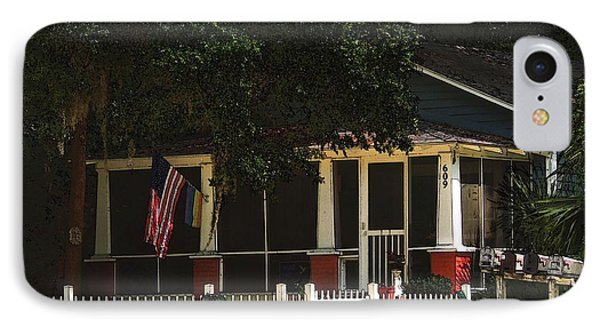 IPhone Case featuring the photograph Red White And Blue Cottage by Laura Ragland