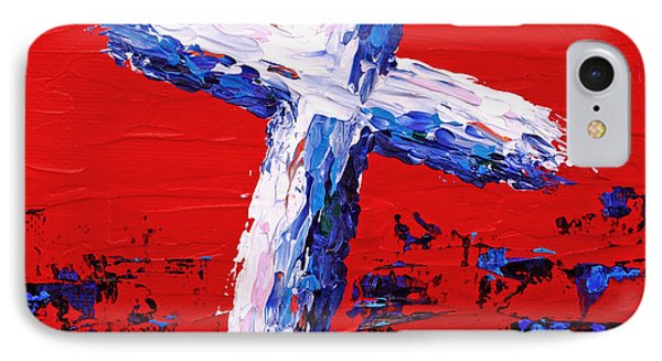 Red White And Blue Cross IPhone Case by Pattie Calfy
