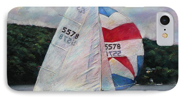 Red White And Blue Sailboat Phone Case by Viola El