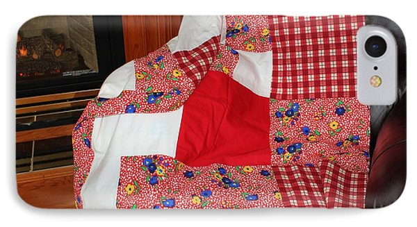 Red White And Gingham With Flowery Blocks Patchwork Quilt IPhone Case