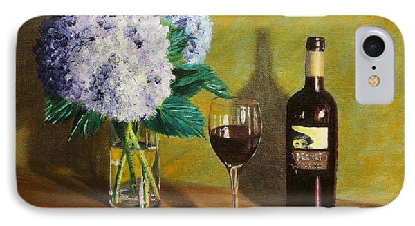 Red Wine And Hydrangea IPhone Case by Alan Mager