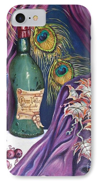 Red Wine And Peacock Feathers Phone Case by Caroline Street