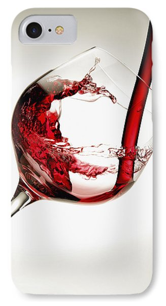 Red Wine Pouring Into A Glass Phone Case by Richard Desmarais