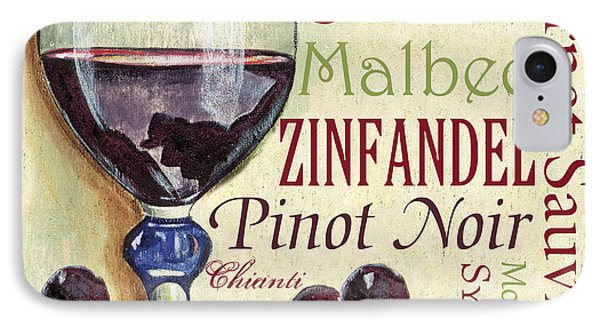 Red Wine Text IPhone Case by Debbie DeWitt