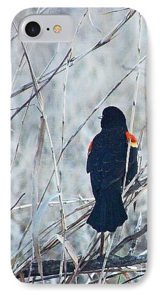 IPhone Case featuring the digital art Red Wing Perched by Lizi Beard-Ward