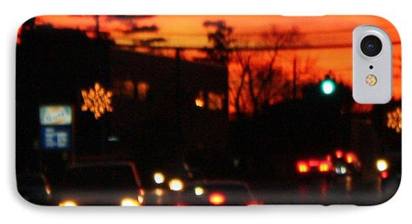 Red Winter Sunset Over Long Island Suburbs Phone Case by John Telfer