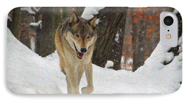 Red Wolf On A Winter Hunt IPhone Case