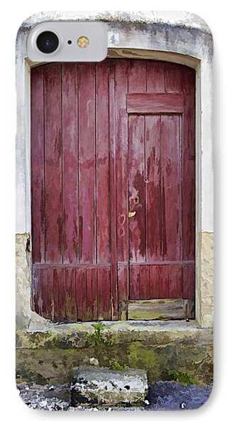 Red Wood Door Of The Medieval Village Of Pombal Phone Case by David Letts