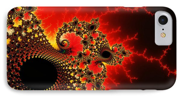 Red Yellow And Black Fractal Flashes And Spirals IPhone Case by Matthias Hauser