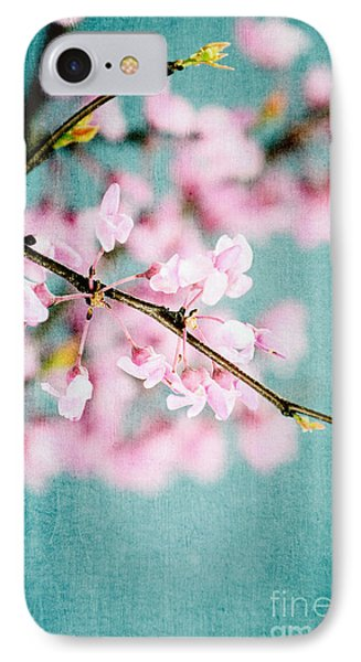 Redbuds Over Blue IPhone Case