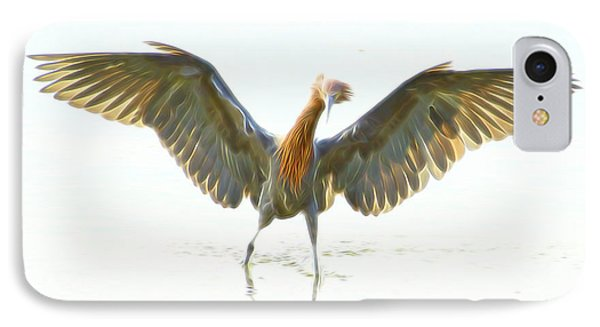 IPhone Case featuring the digital art Reddish Egret 2 by William Horden