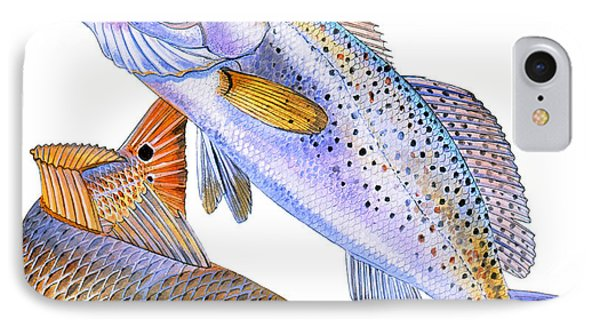 Redfish Trout IPhone Case by Carey Chen