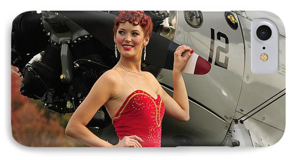 Redhead Pin-up Girl In 1940s Style Phone Case by Christian Kieffer