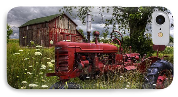 Reds In The Pasture IPhone Case by Debra and Dave Vanderlaan