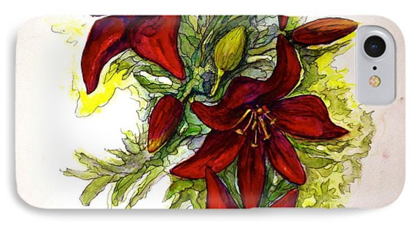 IPhone Case featuring the painting Red Lilies by Rae Chichilnitsky