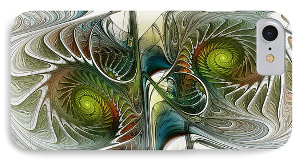 Reflected Spirals Fractal Art IPhone Case by Karin Kuhlmann