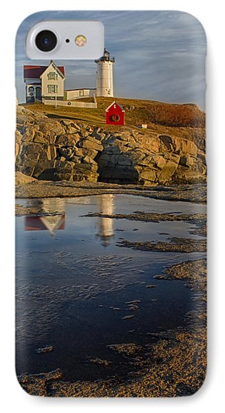 Reflecting On Nubble Lighthouse Phone Case by Susan Candelario