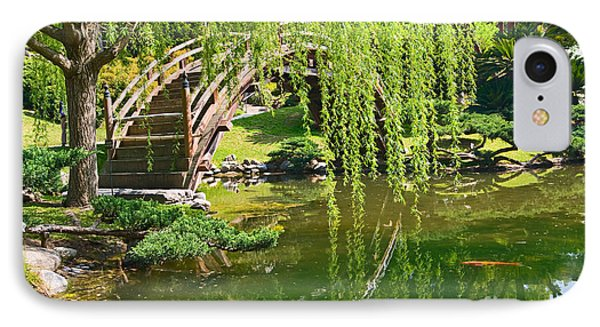Reflection - Japanese Garden With Moon Bridge And Lotus Pond And Koi Fish. IPhone Case by Jamie Pham