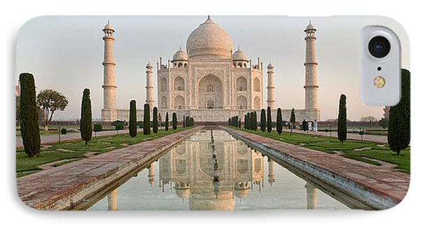 Reflection Of A Mausoleum In Water, Taj IPhone Case by Panoramic Images