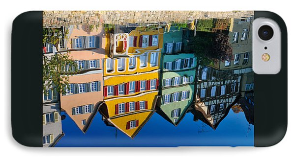 Reflection Of Colorful Houses In Neckar River Tuebingen Germany Phone Case by Matthias Hauser
