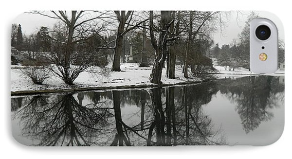 Reflection Pond Spring Grove Cemetery IPhone Case by Kathy Barney