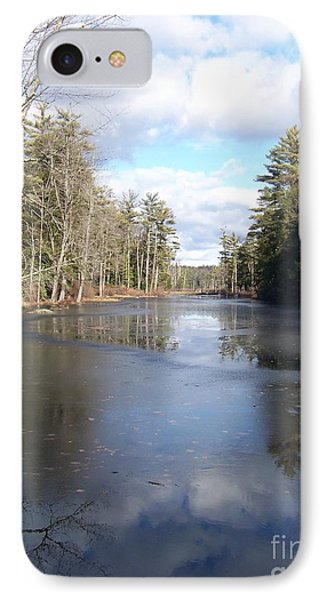 IPhone Case featuring the photograph Reflections Caught On Ice At A Pretty Lake In New Hampshire by Eunice Miller