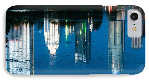 Reflections Of Austin Skyline In Lady Bird Lake At Night Phone Case by Jeff Kauffman