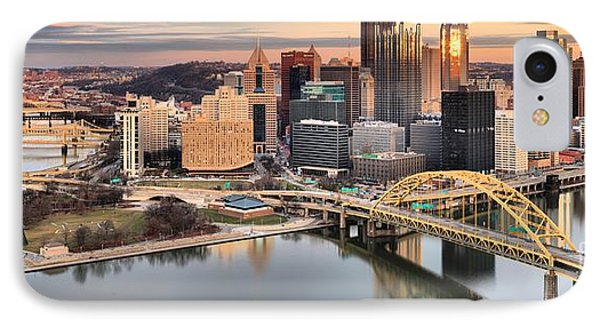 Reflections Of Pittsburgh Panorama IPhone Case by Adam Jewell