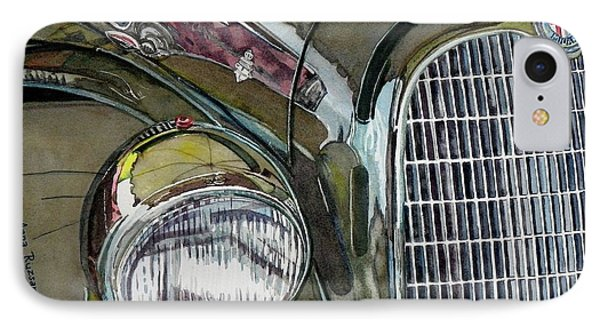 IPhone Case featuring the painting Reflections On 1931 Alfa Romeo Milano by Anna Ruzsan