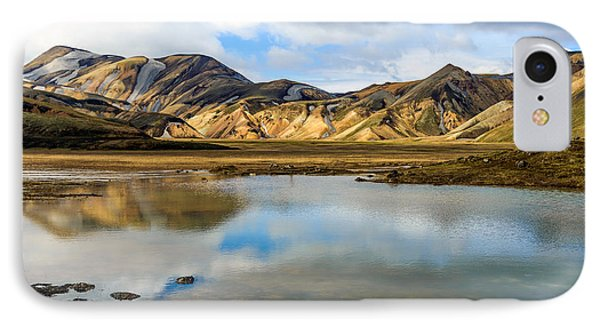 Reflections On Landmannalaugar IPhone Case by Peta Thames