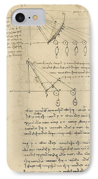 Register Of Milan Cathedral Weight And Study Of Relationship Between Position Of Beam Phone Case by Leonardo Da Vinci