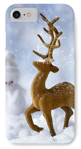 Reindeer In Snow IPhone Case by Amanda Elwell