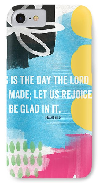 Rejoice And Be Glad- Contemporary Scripture Art IPhone Case by Linda Woods