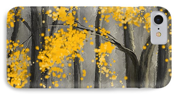 Rejuvenating Elements- Yellow And Gray Art IPhone Case by Lourry Legarde