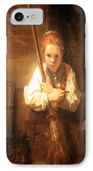 Rembrandt Workshop's A Girl With A Broom IPhone Case by Cora Wandel
