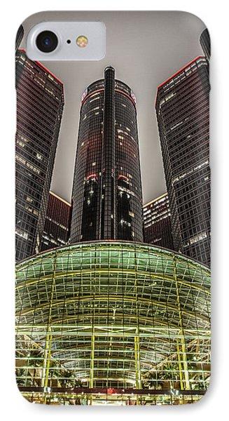 Renaissance Center Detroit Michigan IPhone Case by Nicholas  Grunas