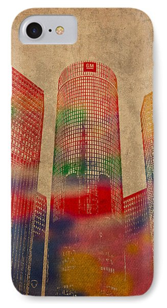 Renaissance Center Iconic Buildings Of Detroit Watercolor On Worn Canvas Series Number 2 IPhone Case by Design Turnpike