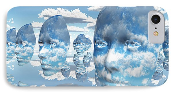 IPhone Case featuring the digital art Repeating Faces Of Clouds by Bruce Rolff