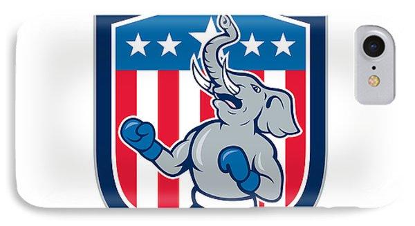Republican Elephant Boxer Mascot Shield Cartoon IPhone Case