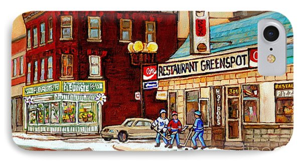 Restaurant Greenspot And Coin Vert Boutique Fleuriste Montreal Winter Street Hockey Scenes IPhone Case by Carole Spandau