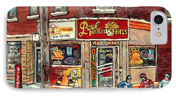 Restaurant Paul Patate Pte St Charles Montreal Verdun Paintings Hockey Art City Scenes Cspandau IPhone Case by Carole Spandau