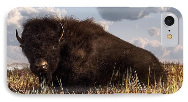 Resting Buffalo IPhone Case by Daniel Eskridge