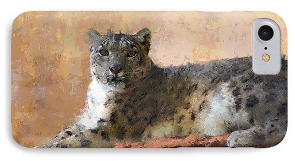 Resting Snow Leopard Phone Case by Roger D Hale
